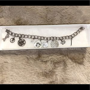 """🎀 Vintage Sterling Silver Double Woven Link Charm Bracelet w 9 SS Charms 7.75"""""""